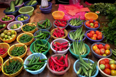 Bowls of chillies at Pudu Market