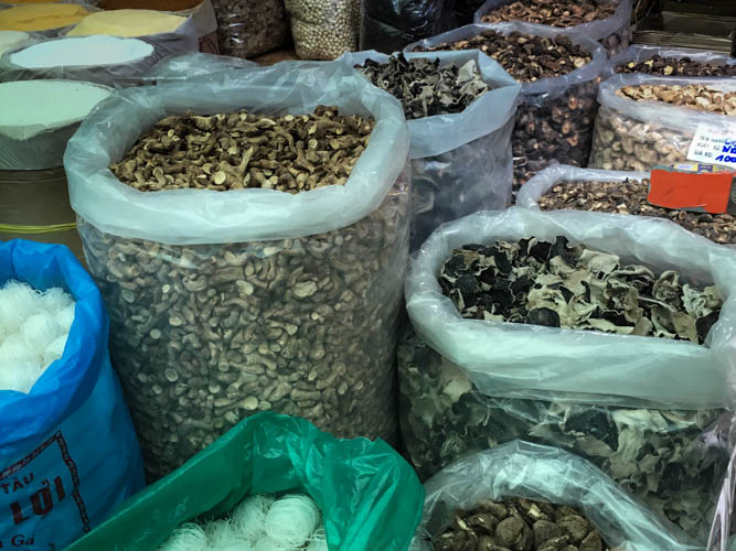 Another giveaway that you're in a Chinese influenced market - lots of stalls selling dried mushrooms