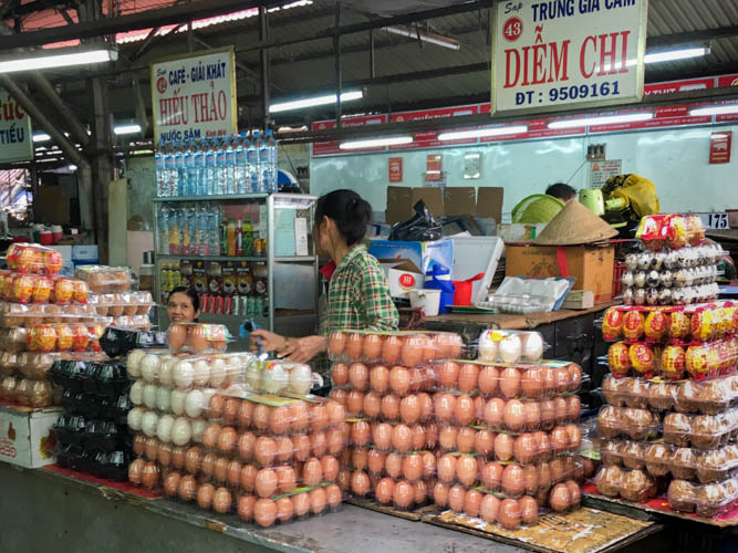 Don't trip over - eggs at Binh Tay Market