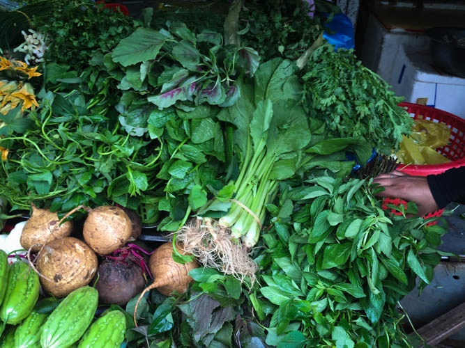 Herbs are an essential part of a large majority of Vietnamese cooking - on display at Ben Thanh Market by Vietnam Cookery centre