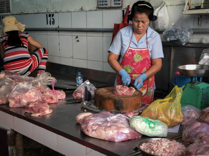 Meat stall at Binh Tay market
