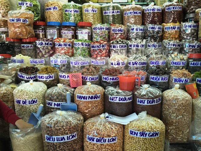 Do you like nuts? Nut display at Binh Tay Market