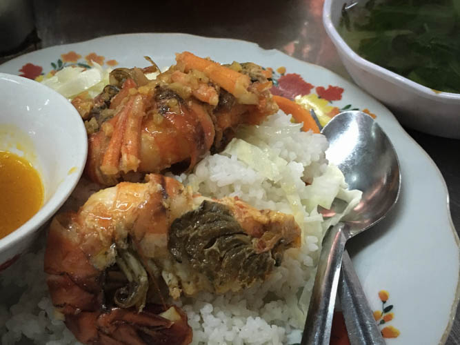 A spicy prawn dish served with rice - perfect for breakfast